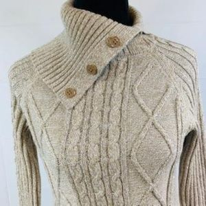 Taupe and White Fishermans Sweater